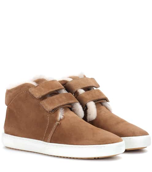 Rag & Bone High-Top Sneakers aus Veloursleder mit Fell