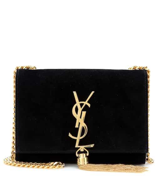 Saint Laurent Schultertasche Classic Small Kate Monogram aus Veloursleder