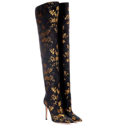 9e44c147082 Gianvito Rossi Rennes Jacquard Over-The-Knee Boots