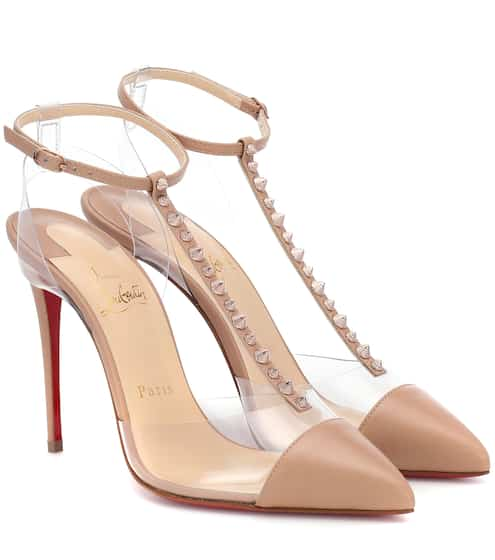 5e00f07ab540 Christian Louboutin Nosy Spikes Pvc And Leather Pumps