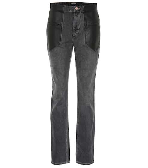 d36508682d6a0 Jean à taille haute en coton et cuir Novera   Isabel Marant