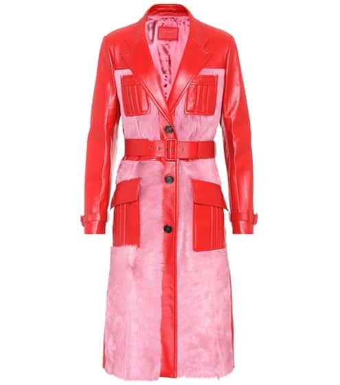 Prada Mantel aus Leder und Pelz