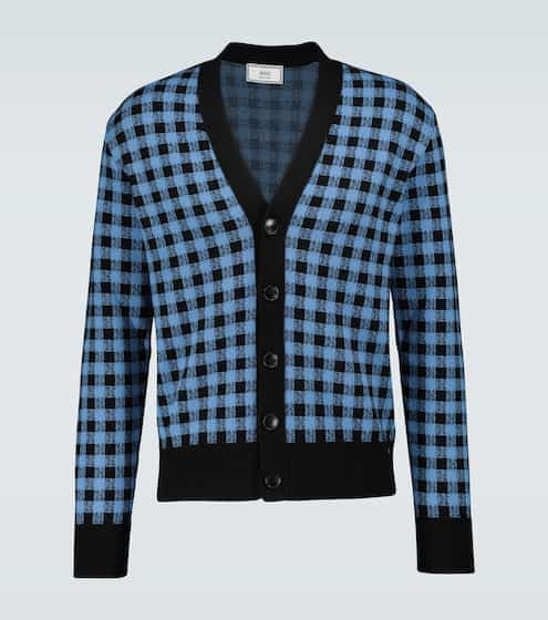 AMI PARIS Vichy jacquard checked cardigan