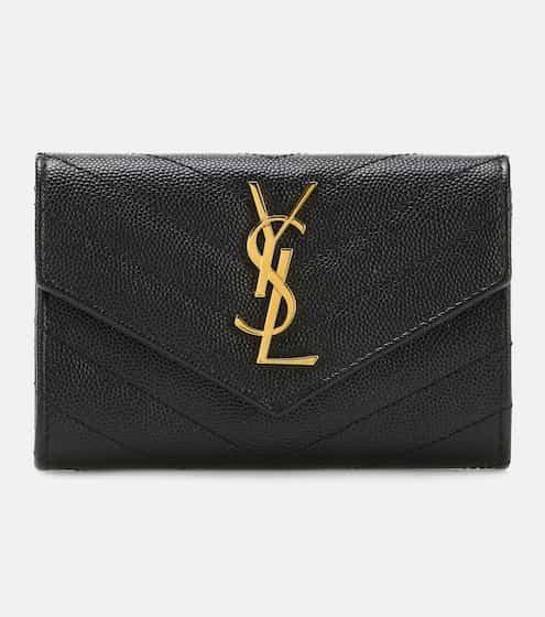 생 로랑 모노그램 반지갑 - 블랙 Saint Laurent Monogram Small leather wallet