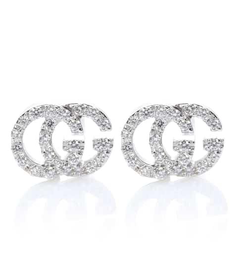 Orecchini Running G in oro bianco 18kt con diamanti  aae8f7de3f22