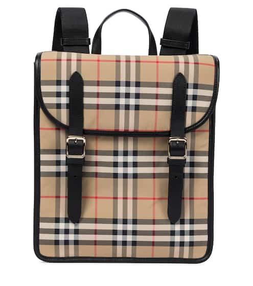 버버리 키즈 백팩 Burberry Vintage Check leather-trimmed canvas backpack