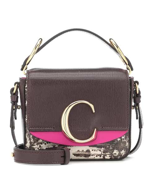 끌로에 C백 미니 숄더백 - 브라운 마젠타 Chloe C Mini leather shoulder bag