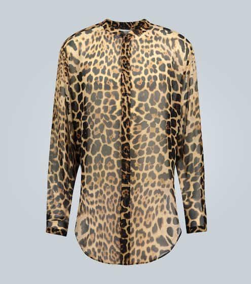 생 로랑 Saint Laurent Silk leopard print shirt