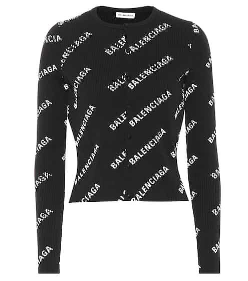 발렌시아가 Balenciaga Logo ribbed cardigan