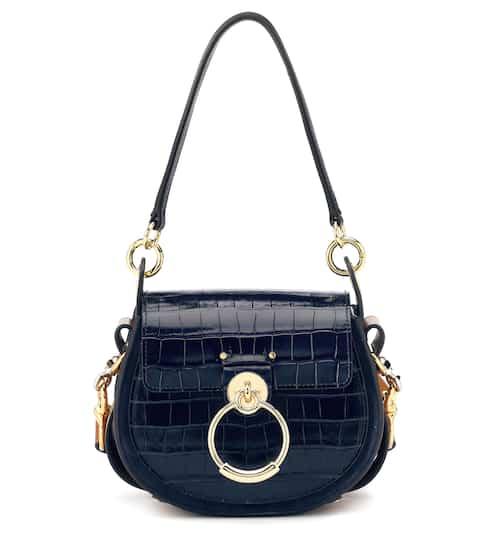 끌로에 테스백 스몰, 악어무늬 엠보싱 카프스킨 - 풀 블루 Chloe Tess Small leather shoulder bag