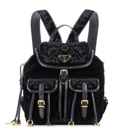 Prada Large Quilted Velvet Backpack, Black