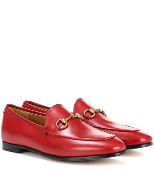 구찌 우먼 조르단 레더 로퍼 (히비스커스 레드) Gucci Jordaan leather loafers, Hibiscus Red
