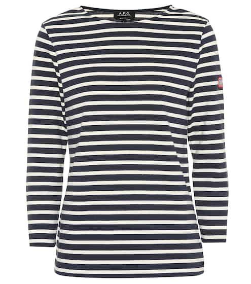 18 F/W 아페쎄 니키 스트라이프 코튼 탑 A.P.C. Nikki striped cotton top, Dark Navy