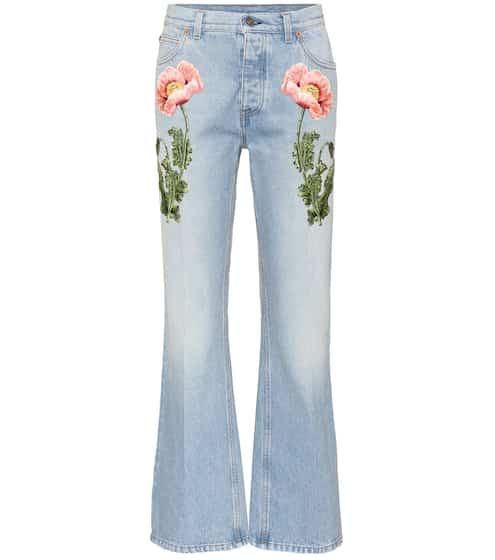 Gucci Flared Jeans mit Stickerei
