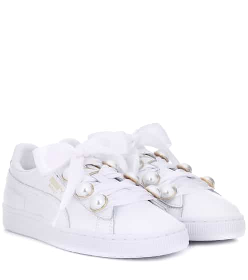 Puma Baskets en cuir à ornements Bling