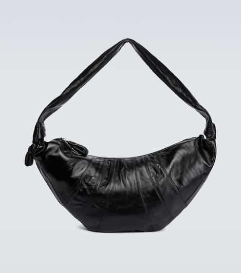 르메르 크로와상 범백, 램가죽 - 블랙 (피오 착용) Lemaire Croissant large leather bag