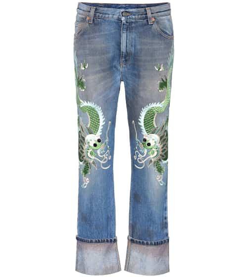 Gucci Boyfriend-Jeans mit Stickerei