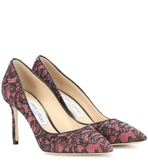 b1d60f32153 Jimmy Choo Romy 85 Leather And Lace Pumps