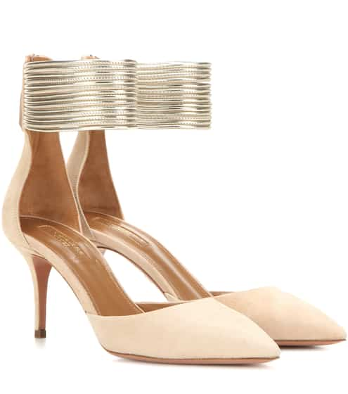 Aquazzura Kittenheel-Pumps Hello Lover 75 aus Veloursleder
