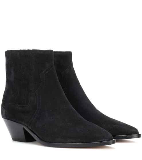 Isabel Marant Black Suede Elegant Line Boots TUMicOx