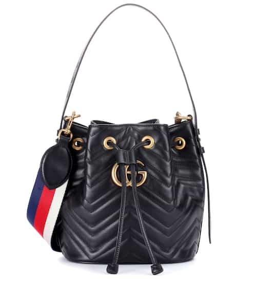 구찌 마몬트 버킷백 블랙 Gucci GG Marmont leather bucket bag