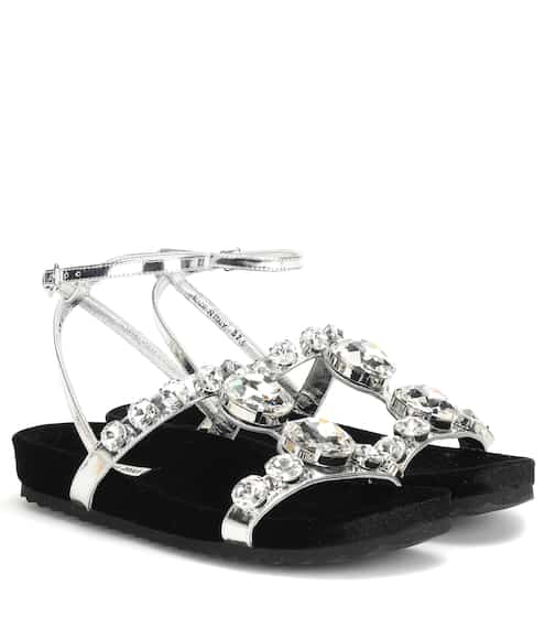 d11fae52fbf Crystal-embellished leather sandals