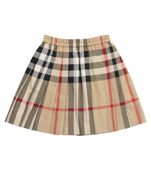 버버리 키즈 치마 Burberry Checked stretch-cotton poplin skirt