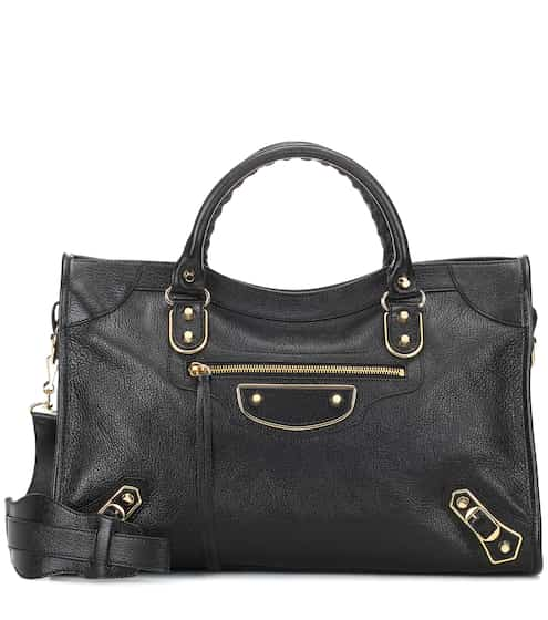 Classic Metallic Edge City Leather Tote Sg 3 170