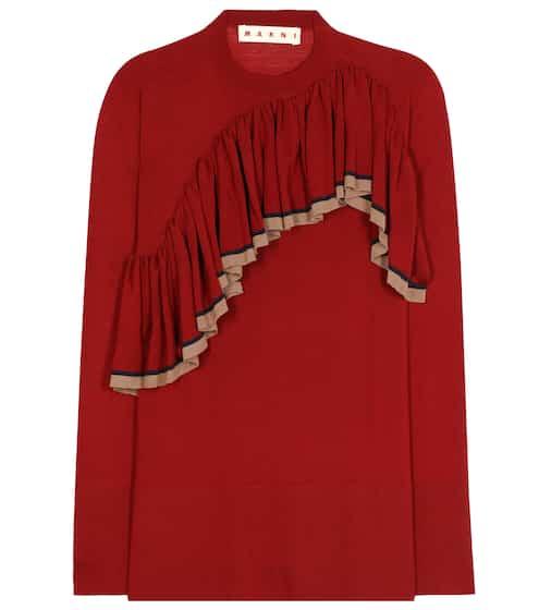 Marni Wollpullover mit Rüschenverzierung