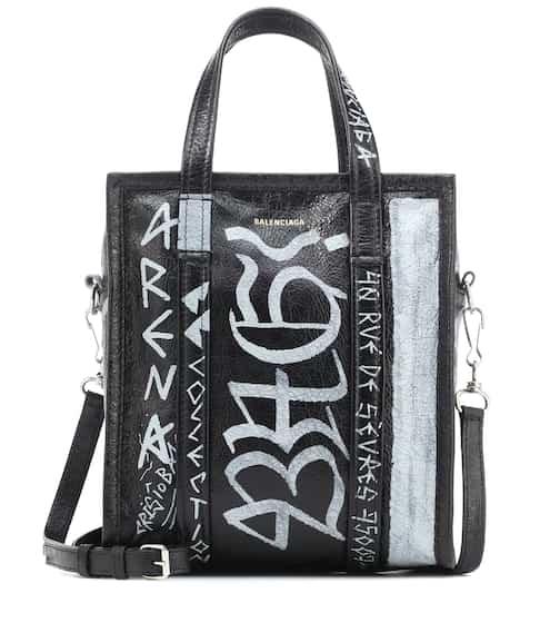 발렌시아가 Balenciaga Bazar S Graffiti leather shopper
