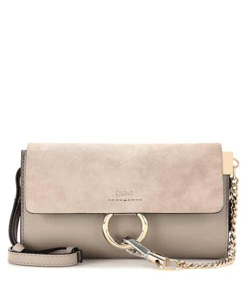 Chloé Schultertasche Faye Mini aus Leder und Veloursleder