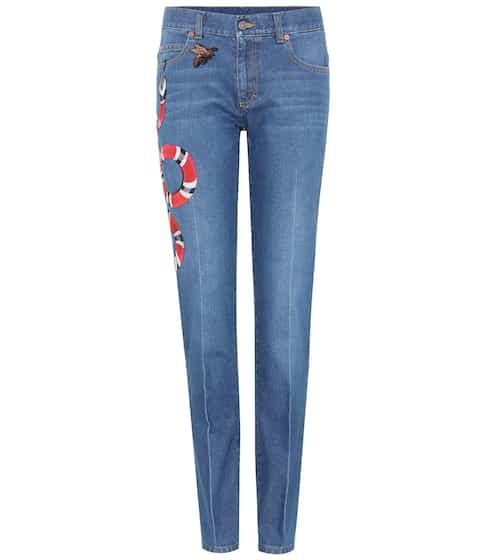 Gucci Bestickte Mid-Rise Jeans