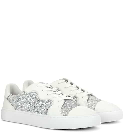 cc3957128 Tory Burch Milo Glitter And Leather Sneakers
