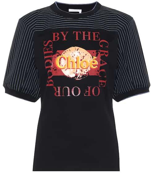 끌로에 로고 탑 Chloe Logo cotton-jersey top