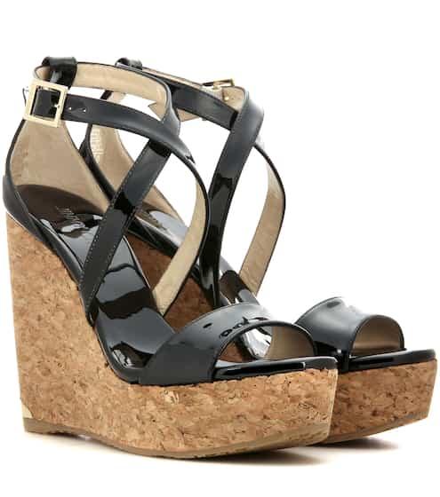 c086e3ffbe44 Jimmy Choo Portia 120 Patent Leather Wedge Sandals