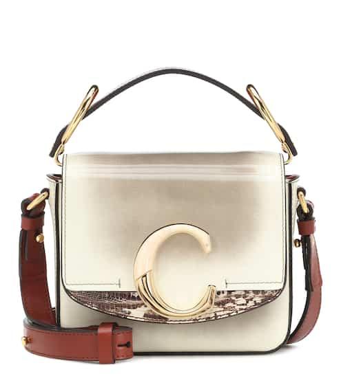 끌로에 C백 미니 숄더백 - 아이보리 베이지 Chloe C Mini leather shoulder bag
