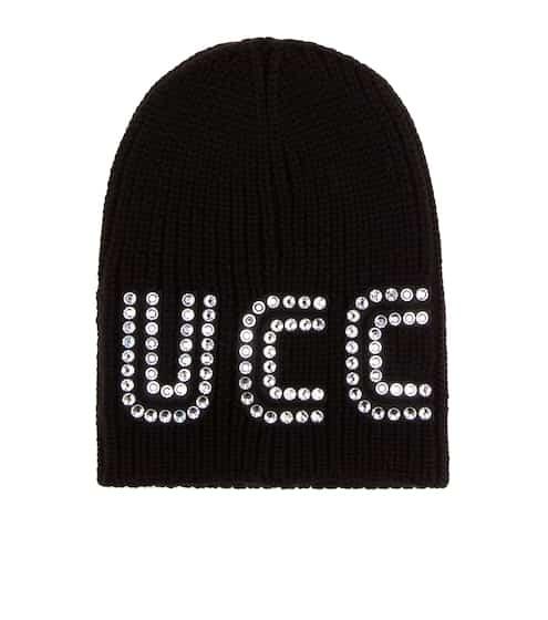 구찌 Gucci Crystal-embellished wool beanie