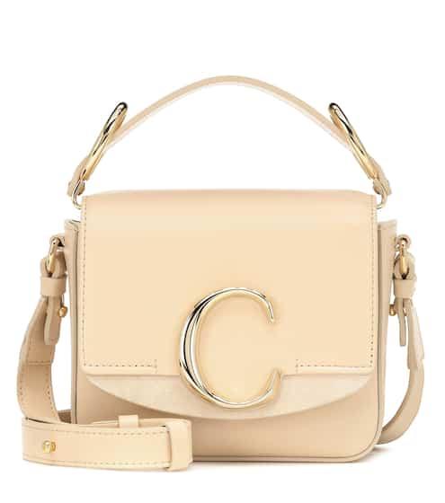 끌로에 C백 미니 숄더백 - 베이지 (다수 연예인 착용) Chloe C Mini leather shoulder bag