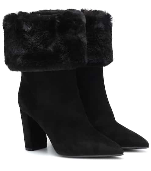 685c49e51 Faux fur-trimmed suede ankle boots | Gianvito Rossi