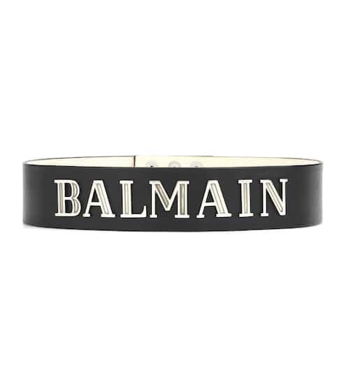 Printed Leather Belt - Black Balmain TPxEdl