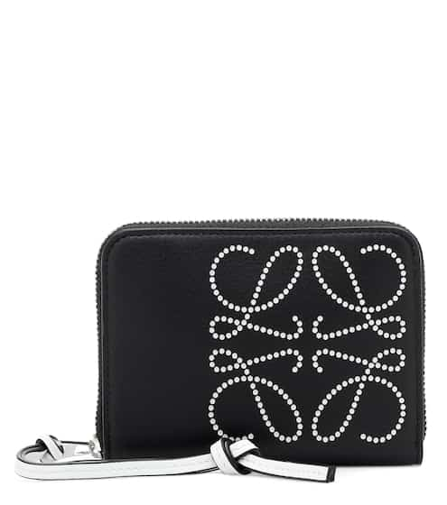 로에베 반지갑 블랙 LOEWE Brand 6 leather wallet