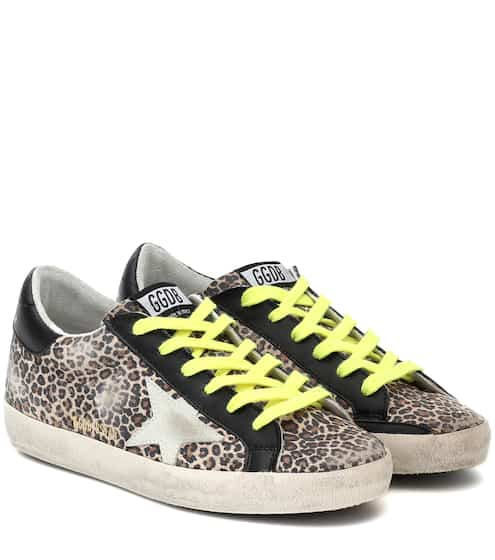 골든구스 Golden Goose Superstar leopard-print sneakers