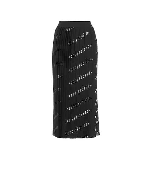 발렌시아가 Balenciaga Allover Logo pleated knit midi skirt