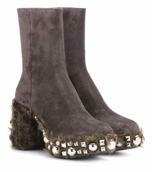 Miu Miu Ankle Boots mit Faux Fur