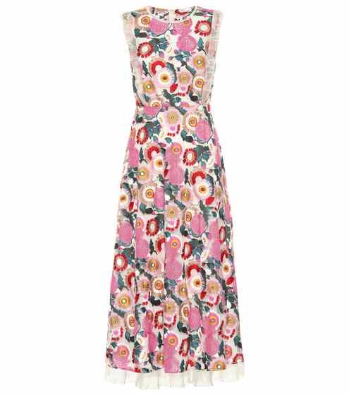 36e129e926 Tulle-trimmed floral midi dress