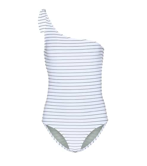 Bower Swimwear White Horse striped one-shoulder swimsuit