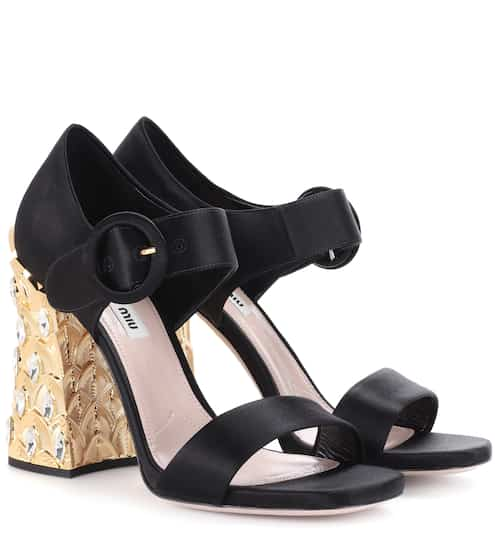 744b5d7c398 Miu Miu Crystal-Embellished Satin Sandals