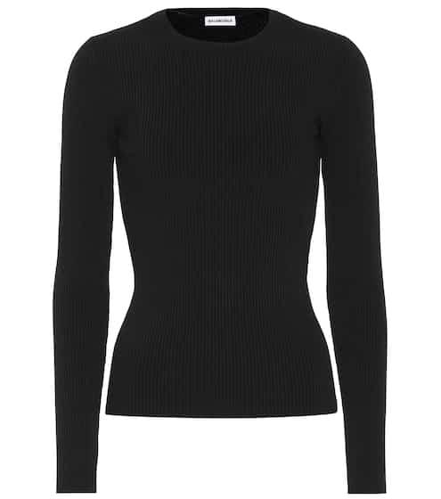 발렌시아가 탑 Balenciaga Ribbed-knit top