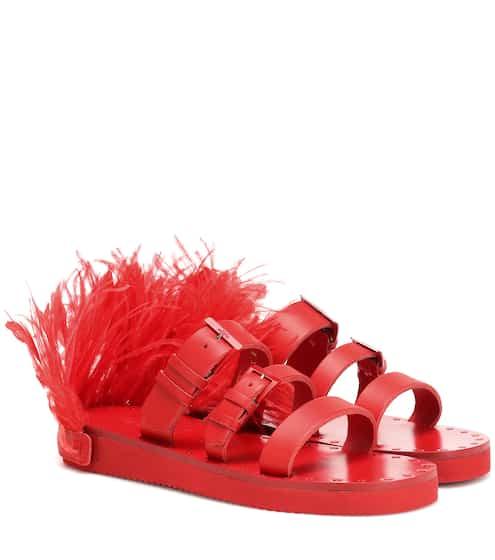 9f999a917fd988 Valentino Garavani Escape feather-trimmed leather sandals | Valentino