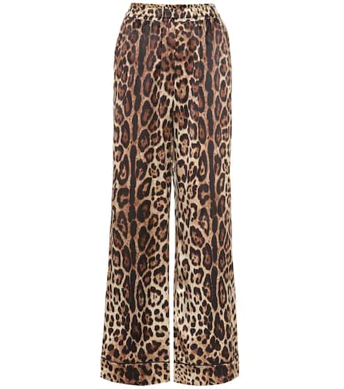 e7cbc9871b90 Leopard-print stretch-silk pants | Dolce & Gabbana